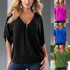 Sexy Womens Deep V-neck Zipper Long Sleeve Shirt Tops Casual Blouse Plus Size