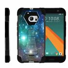 For HTC 10 | One M10 | Dual Bumper Case  Kickstand- Colorful Galaxy with Specs