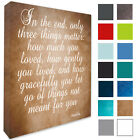 Buddha Wall Hanging Picture 'IN The End, Only 3 Things Matter,Wall Canvas Print