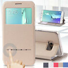 For Samsung Galaxy S7 Edge Leather Case Luxury Window View Flip Stand Case Cover