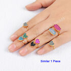 1Pcs 8mm Gold Plated Heart Agate Druzy Joint Midi Knuckle Ring Adjustable HG0600