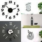 Modern DIY Wall Clock 3D Mirror Surface Sticker Removable Home Office Room Decor