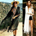 New Womens Kimono Cardigan Chiffon Loose Blouse TASSEL Beach Cover Up Coats Tops