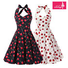 Women's Cherry Print Floral Dress Vintage Halterneck 50s Rockabilly Swing Dress