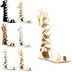 Womens Knee High Strappy Flat Summer Gladiator Boots Roman Lace Up Sandal UK 3-9