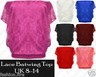 New Womens Ladies Floral Lace Batwing Top Summer Ladies Batwing Lace Top UK 8-14