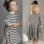 Toddler Baby Girls Kids Cute Striped Long Sleeve Princess Party Mini Dress B20E