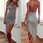 Fashion Women Asymmetric Hem Bodycon Open Back Evening Sexy Party Cocktail Dress