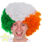 FOOTBALL SUPPORTERS GREEN WHITE ORANGE AFRO WIG NOVELTY HAIR FOR SPORTS EVENT