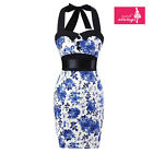 Women's Pencil Skirt Blue and White Floral Vintage Halter 50s Bridesmaid Dress