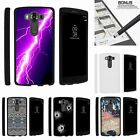 For LG V10| LG G4 Pro| Slim Fit Hard 2 Piece Case Purple Lightning Bolt