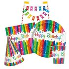 RAINBOW RIBBONS Birthday Party Tableware & Decorations (Napkins/Plates/Banner)