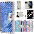 Bling Crystal Diamonds Bow PU leather flip slots stand wallet cover case skin #Q