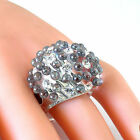 Clear Acrylic Domed Ring Grey &  White Swarovski Elements On Dome By Luna Bianca