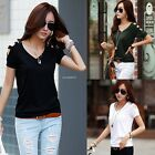 Women Short Sleeve V-neck Hollow Out T-shirt Cotton Basic Casual Slim Tops B20E
