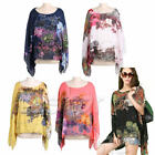 Sexy Women Lady Chiffon Floral Printed Blouse Batwing Sleeve Loose Shirt Tops