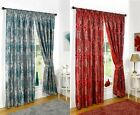 KAYLEIGH METALLIC LINED TAPE TOP CURTAINS FLORAL JACQUARD PENCIL PLEAT PAIRS