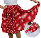 LONG RED POLKA DOT SKIRT FANCY DRESS ROCK N ROLL 1960S STANDARD + PLUS SIZE