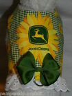 DOG CAT FERRET Harness~Green JOHN DEERE Country Sunflower Cowgirl w/ BOW & LACE