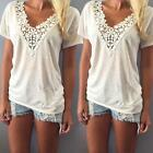 Women Summer V-neck Short Sleeve Blouse Casual Tank Tops T-Shirt Lace Fashion