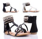 2 Color Rhinestones Casual Gladiator Style Faux Leather Zip Open Womens Sandals