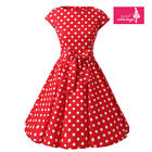 Women's Red White Polka Dot Dress Vintage Cap Sleeves 50s Rockabilly Dress