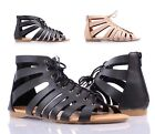 2 Color Adjustable Lace Up Gladiator Style Faux Leather Womens Sandals Size