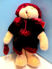 Russ Berrie and Co Larisa Plush Bear 11 inch Tag Attached Maroon Coat Hat Purse