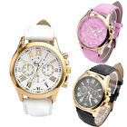 Fashion Women Geneva Date Leather Watch Stainless Steel Quartz Wrist Watches New