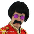 1960S POP SERGEANT FANCY DRESS COSTUME SET WITH PINK HIPPY GLASSES, WIG + TASH
