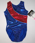 Nwt New GK Elite Leotard USA Olympics Blue Hologram Red Insert Silver Dots Women
