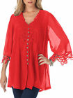 Red Georgette Crochet Lace Trim Tunic Top Blouse Smock Size 12 to Plus Size 32
