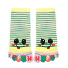 Child Ankle Length Stripes Letters Smiley Face Print Toe Socks 8-9.5