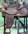 "DF101DBRO HILASON WESTERN DRAFT HORSE TRAIL RIDING ENDURANCE SADDLE 16"" 17"""