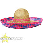 PINK TRIM MEXICAN SOMBRERO STRAW HAT 100X PACK WHOLESALE LOT FANCY DRESS WESTERN