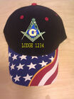 MASON MASONIC EMBROIDERED BALL CAP WITH STARS AND LODGE NUMBER (FREE SHIPPING)