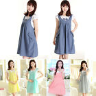 Pregnant Womens Dress Shirt Dress Bowknot Summer Wear Short-sleeved