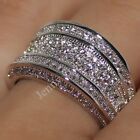 Handmade Clear CZ Pave Set 14K White Gold Filled Wedding Band Hip Pop Ring