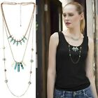 New Women Boho Tassel Necklace Multilay Silver Gold Plated Statement Jewelry