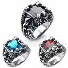 MENDINO Men's Stainless Steel Ring Dragon Claw Punk Gothic Blue/Red/Black Stone