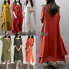 Vintage Women Casual Loose Long Sleeve Cotton Linen BOHO A-Line MAXI Shirt Dress