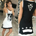 1PC Womens Sleeveless Dresses Skull Print Vest Skirt Casual Fashion Party Dress