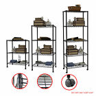 3/4/5 Tier Shelving Storage Unit Steel Wire Metal Rack Adjustable Shelf Black