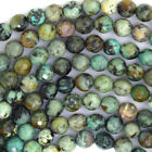 "Faceted African Turquoise Round Beads 15.5"" Strand 4mm 6mm 8mm 10mm 12mm 14mm"