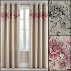 ALBA PAIR FLORAL EMBROIDERED LINED RING TOP/EYELET CURTAINS - GREY OR PINK