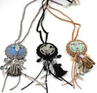 New Bohemian Fashion Handcraft Jewelry Leather Bag Crystal Pendant Long Necklace