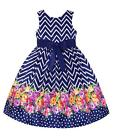 New Girls American Princess 4-6x Navy Pink Flower Border Dress Special Occasion