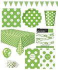 LIME GREEN POLKA DOT Partyware Range (SPOTS) Tableware Balloons & Decorations