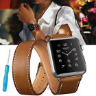 New Genuine Leather Watch Band Double Tour Bracelet Strap For iWatch 38mm/42mm