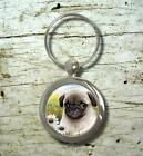 Round or Rectangle Key Chain Dog 114 Puppy Pug Nature art painting L.Dumas